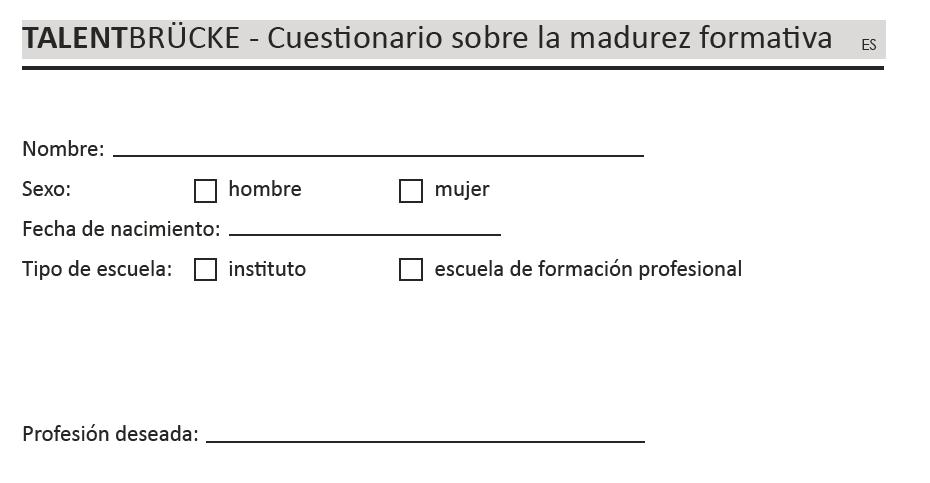 TALENTBRÜCKE - Cuestionario sobre la madurez formativa Procedimientos de prueba